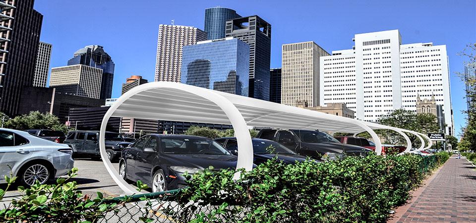 Tettoia pensilina auto per parcheggi pubblici e arredo urbano